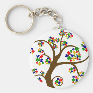 Puzzled Tree of Life Basic Round Button Key Ring