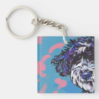 pwd Portuguese water dog pop dog art Double-Sided Square Acrylic Key Ring