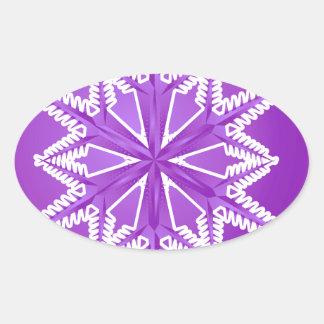 PWSF PURPLE WINTER SNOWFLAKE WINTER BACKGROUNDS WA OVAL STICKER