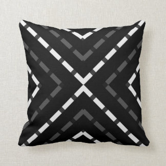 Pyramid Black gray grey white  dashed lines line Cushion