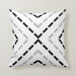 Pyramid Black white gray grey dashed lines line Cushion