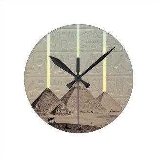 Pyramid Hieroglyph Spotlights Round Clock