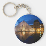 Pyramid in Louvre Museum,Paris,France Basic Round Button Key Ring