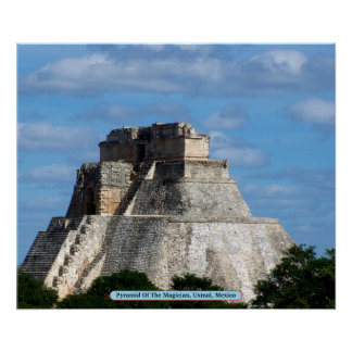 Pyramid Of The Magician, Uxmal, Mexico Poster