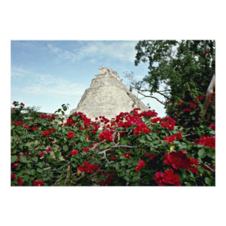 Pyramid Of The Magician With Bougainvillea Custom Announcement