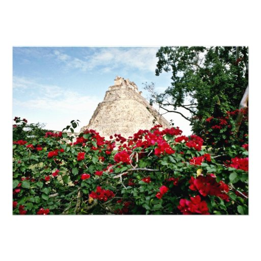 Pyramid Of The Magician With Bougainvillea, Uxmal Invites