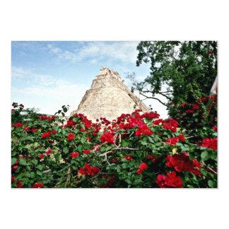 "Pyramid Of The Magician With Bougainvillea, Uxmal 5"" X 7"" Invitation Card"