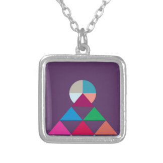 Pyramid Silver Plated Necklace