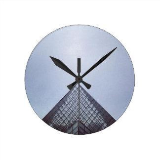 Pyramide Louvre Paris Round Clock