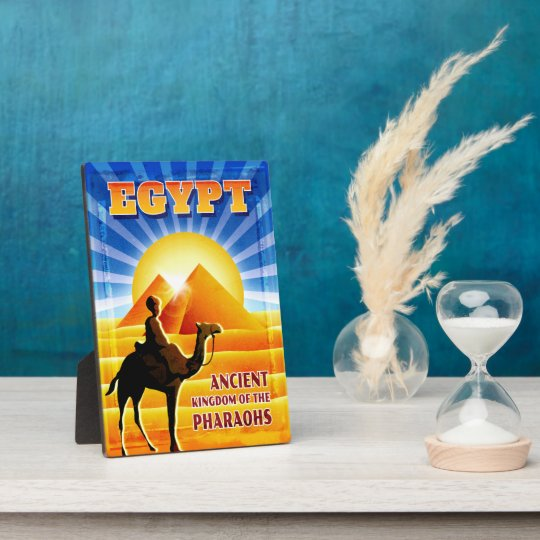 Pyramids at Sunset Egypt Travel Illustration Plaque