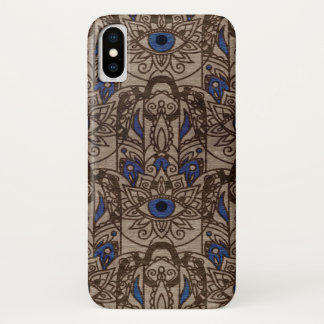 Pyrographed  Hamsa Hand with color on Wood iPhone X Case