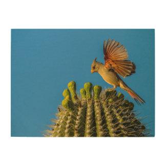 Pyrrhuloxia on Saguaro, Arizona Wood Wall Art