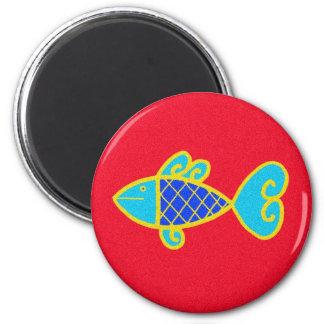 Pysanka Symbol: Fish 6 Cm Round Magnet