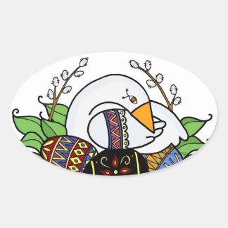 Pysanky and Goose Ukrainian Folk Art Oval Sticker