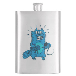 pyscho cat and unfortunate mouse funny cartoon hip flask
