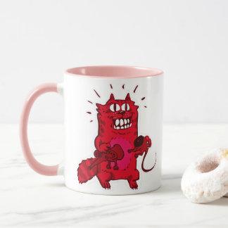 pyscho cat and unfortunate mouse funny cartoon mug