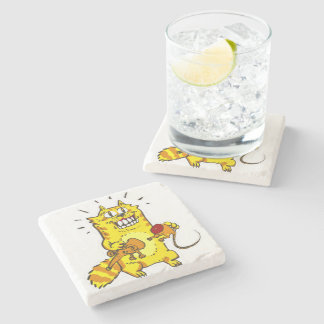 pyscho cat and unfortunate mouse funny cartoon stone coaster