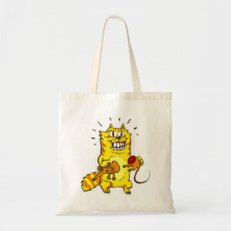 pyscho cat and unfortunate mouse funny cartoon tote bag