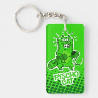pyscho cat and unlucky mouse funny cartoon Double-Sided rectangular acrylic key ring