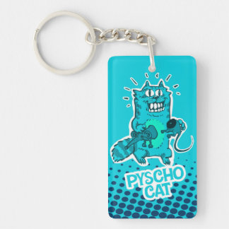 pyscho cat and unlucky mouse funny cartoon key ring