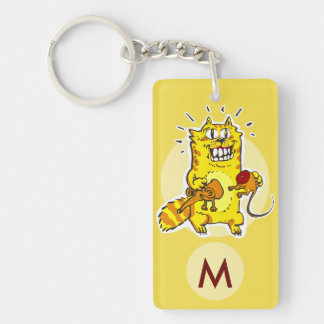 pyscho cat unlucky mouse funny cartoon monogram Double-Sided rectangular acrylic key ring