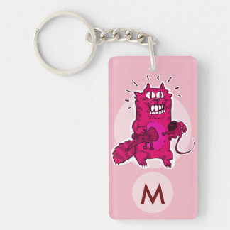 pyscho cat unlucky mouse funny cartoon monogram key ring