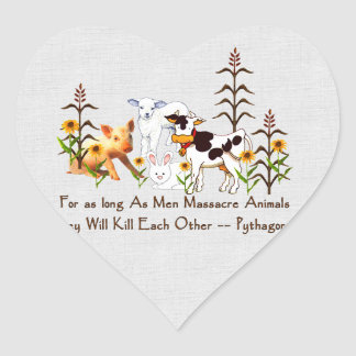 Pythagoras Vegetarian quote Heart Sticker