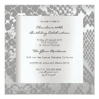 Python Snake Animal Skin Black Silver Birthday 13 Cm X 13 Cm Square Invitation Card