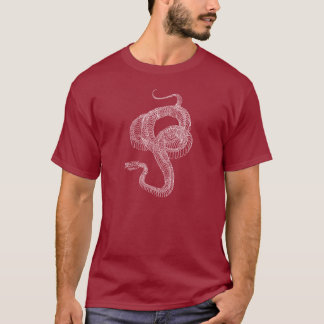 Python snake skeleton, white on dark T-Shirt