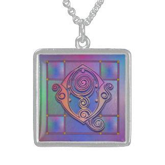 Q Initial Monogram Blue Rain Glass Necklaces Personalized Necklace