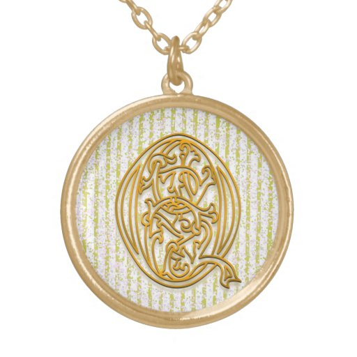 "Q Initial Monogram ""Gold Pin Stripe"" Necklace Custom Jewelry"