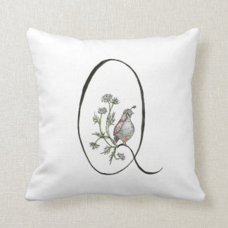 Q is for Quail and Queen Anne's Lace Pillow! Cushion