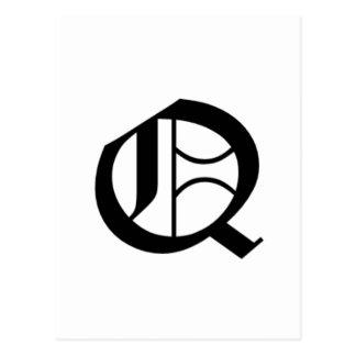 Q-text Old English Postcard