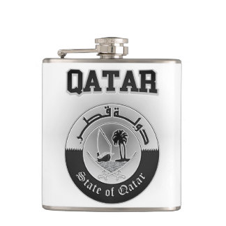 Qatar Coat of Arms Hip Flask