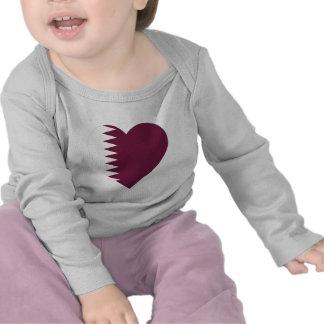 Qatar Flag Heart Shirts