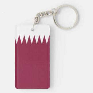 Qatar National World Flag Double-Sided Rectangular Acrylic Key Ring