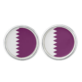 Qatari Flag Round Cufflinks, Qatar Colors Cufflinks