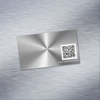 QR Code Ad Plain Sliver Metal Stainless Steel Look Magnetic Business Cards