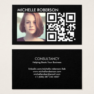 Qr code and headshot business card