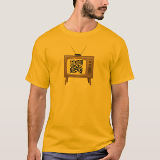 QR Code Old Fashioned TV T-Shirt Template
