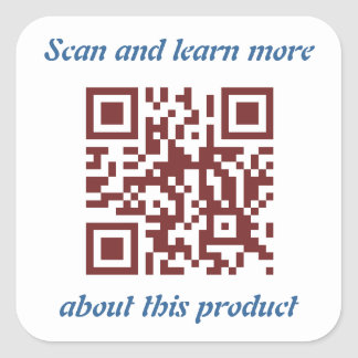QR Code product's information template Square Sticker