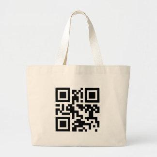 "QR ""Happy Sabbath!"" code. Large Tote Bag"
