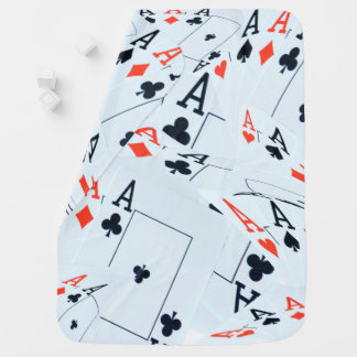 Quad Aces In A Poker Cards Layered Pattern, Baby Blanket