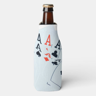 Quad Aces Poker Cards Pattern, Bottle Cooler