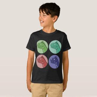 quad color dinosaur heads funny cartoon T-Shirt