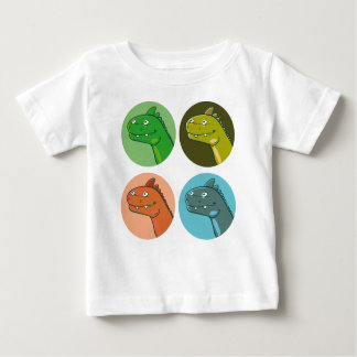 quad color funny dinosaur heads cartoon baby T-Shirt
