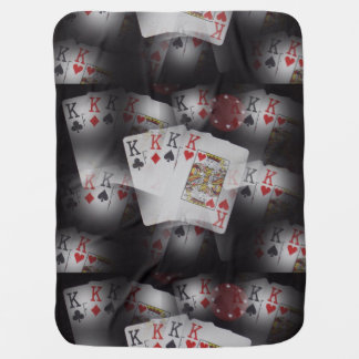 Quad Kings Poker Cards Pattern, Baby Blanket
