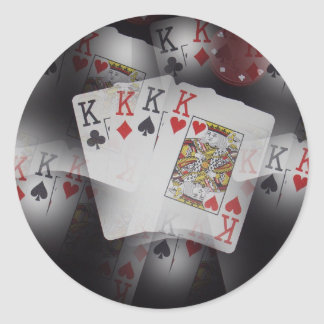 Quad Kings Poker Cards Pattern, Classic Round Sticker