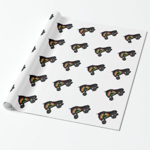 quad roller skate rainbow wrapping paper