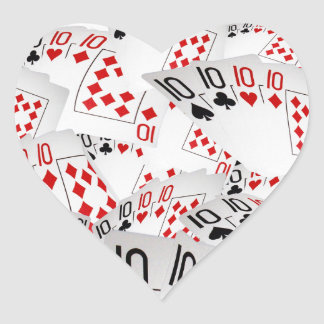 Quad Tens In A Layered Pattern, Heart Sticker